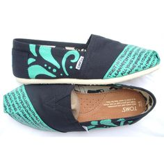 The Betty - Teal and Black Custom TOMS ❤ liked on Polyvore