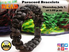 Did you know there are over 40 uses for paracord? It can be used in everyday activities as well as survival. If you are in 4th – 12th grade come to the Milford Memorial Library Thursday, July 7, at 1:00 p.m., to make paracord bracelets. This craft is part of the Teen Summer Reading Program. For more information about the Summer Reading Program contact the Milford Memorial Library. All supplies are provided by the library at no cost to the students