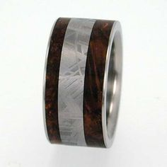 Ben? Mens Wedding Ring  Meteorite & Wood inlay by jewelrybyjohan, $467.00