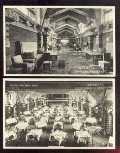 The Imperial Hotel, Tokyo, 1923, Frank Lloyd Wright  ~ The Grand Master, these postcards are very rare....