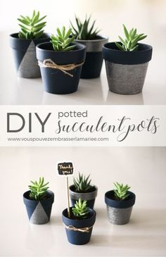 I think I just found the perfect guest favor! These adorable DIY potted succulent pots are insanely cute, easy to do and they have a trendy and eco look I am in love with. The tutorial is very clear.