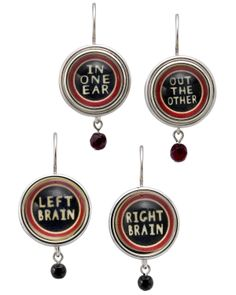 PLAYFUL WORD EARRINGS   Left & Right Brain, In One Ear, Out The Other   UncommonGoods $42
