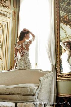 2016 Long Sleeves Lace Short A Line Wedding Dresses V Neck Appliques Custom Made Sheath Mini Bridal Gowns Covered Button High Quality Beautiful Wedding Dresses Bridal Shops From Yahuifang2016, $133.55  Dhgate.Com