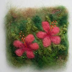 Hibiscus original needle felted wall art fabric by tillyteadance Yarn Crafts, Felt Crafts, Crafts To Make, Wet Felting, Needle Felting, Felt Pictures, Wool Art, Textile Artists, Felt Art