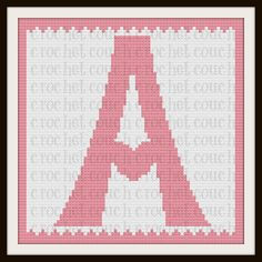 Letter A Heart Afghan, Graph with Written Word Chart - click through for more letter crochet patterns. Crochet C2c Pattern, Free Crochet, Free Pattern, Crochet Letters, Black And White Words, Crochet Projects, Crochet Ideas, Graph Paper, Crochet Designs