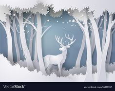 Find Deer in forest with snow.vector paper art and digital craft style stock vectors and royalty free photos in HD. Explore millions of stock photos, images, illustrations, and vectors in the Shutterstock creative collection. Christmas Paper, Christmas Crafts, Christmas Decorations, 3d Paper Art, Paper Crafts, Art 3d, Paper Paper, New Year Illustration, Landscape Illustration