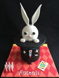 Rabbit out of a magic hat cake