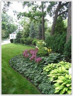 [low maintenance plants - The background is Spruce and Arborvitae. The middle layer is Viburnum, Hydrangea and Ligularia. The foreground is Astilbe, Hosta and Pachysandra. Great ideas for the Shade Garden Low Maintenance Landscaping, Low Maintenance Plants, Front Yard Landscaping, Backyard Landscaping, Landscaping Ideas, Backyard Patio, Backyard Ideas, Diy Patio, Landscaping Borders
