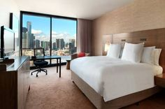 Hilton #Melbourne South Wharf - talk about rooms with a view! Would you stay here? Overlooking the Yarra River, this #hotel features a variety of wines, fine dining & amenities! #Australia #hotels #travel