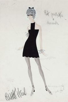"""Illustration - Edith Head Sketch for Shirley MacLaine in """"Sweet Charity"""","""