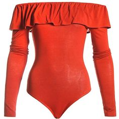 eb01f7dbee Sans Souci Rust long sleeve ruffle off shoulder bodysuit ( 31) ❤ liked on Polyvore  featuring intimates