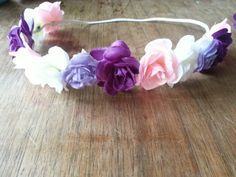 Purple Pink  White Halo Headband- Flower Headband-Hippie Headband- Photoprop-BOHO Headband #feltbows #hairbows #tiebacks #haloheadbands #babyfashion #feltheadband #feltbow #glitterbow #maddiandaddibowtique #bowtie #diybows #etsybows #diybowtie #diyheadband #headbands #photoprops #cakesmash #cakesmashprops #smallbusiness