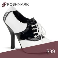 """Pin Up Lace Up Shoes High Heels Saddle 1950s Lace Up Pin Up Shoes High Heels Saddle  4 1/2"""" Heel   Styles: retro pinup 1950s vintage bridesmaids dapper day swing jive dance rockabilly Shoes Heels"""