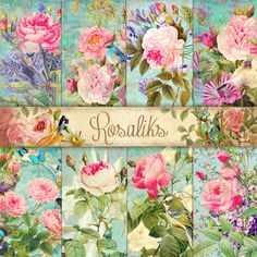 Vintage birds Floral Shabby Chic 8,5x11 Digital Scrapbook Paper Pack Shabby chic paper Decoupage Paper Vintage Shabby Chic ROSE         April 07, 2015 at 05:54AM