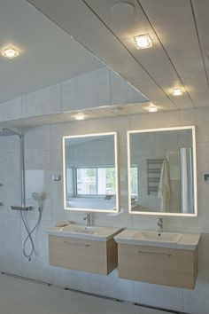 When it comes to lighting solutions in bathroom, Helmi LED-light is a perfect option. Beautiful Bathrooms, Modern Bathroom, Sauna Lights, Interior Lighting, Corner Bathtub, Lighting Solutions, Mirror, Luxury, Furniture