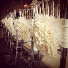 These nice touches to the chairs at the reception can be easy to make too!