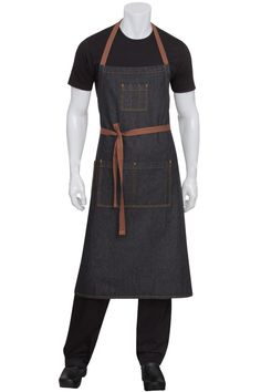 Memphis Black Denim Apron with Brown contrasting top-stitching and ties.  This look is also available in a full or half bistro length.  Get it @ ChefsEmporium.net (http://www.chefsemporium.net/adjustable-black-bib-apron.html)