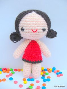 Leena sweet girl Amigurumi Crochet Pattern by jennyandteddy. *Of course you can sell the finished dolls that are made out of my original pattern. Finish Size -Approximately 4-5 inch. -Size varies d...