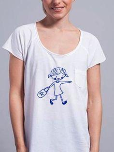 Camiseta mujer MUÑECA en azul real de DECHARCOENCHARCO en Etsy