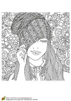 Dessin à colorier pour un hiver zen, jeune femme au bonnet - Hugolescargot.com