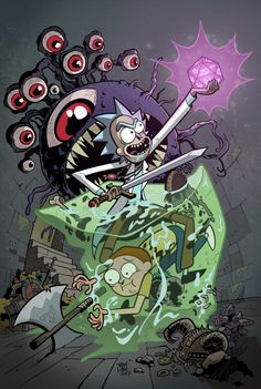 Rick and Morty meet Dungeons and Dragons in comics. Stories by Patrick Rothfuss and Jim Zub. Art by Troy Little. Rick And Morty Comic, Rick I Morty, Rick And Morty Poster, Mobile Wallpaper, Iphone Wallpaper, Ricky And Morty, Patrick Rothfuss, Rick E, Regular Show