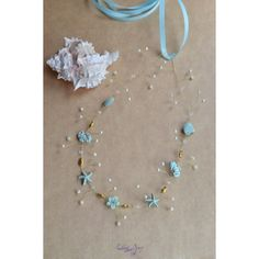 Seashell Wedding crown Beach bridal crown Light blue hair wreath... ($45) ❤ liked on Polyvore featuring accessories, hair accessories, beach wedding, bride hair accessories, starfish garland, seashell garland, bride flower crown and seashell hair accessories
