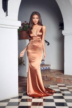 Pleated V Neckline Silk Like Satin Mermaid Long Prom Dress Sexy Backless Evening  Party Dress 2018 from Ulass d14e0f89243b