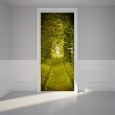 "Door Wall Sticker Lovely bush tunnel - Peel & Stick Repositionable Fabric Mural 31""w x 79""h (80 x 200cm)"