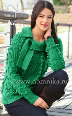 Узорчатый пуловер с круглой кокеткой