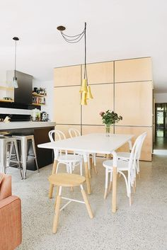 Old but gold: terrazzo/marmorite flooring Glass Dining Table, Dining Room Chairs, Dining Area, Melbourne House, Terrazzo Flooring, Hardwood Floors, Small House Design, Flooring Options, Modern Kitchen Design