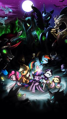 mane six and bad guys. u can do it! freindship forever.