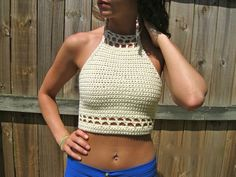 Crochet halter top with open back and detailed top. Size shown is small but it can be made in any size and color! The detail can be on just the