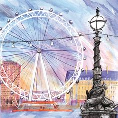 London Eye (LHC22) London Town and City Canvas by Laura Hughes http://www.thewhistlefish.com/product/london-eye-canvas-by-laura-hughes