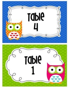 Number your groups or tables with these cute owl signs. ...