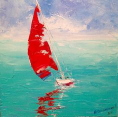 Small Seascape Painting Canvas Oil Painting Original Boat