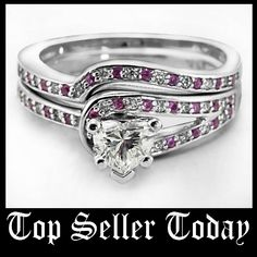 Diamond Loop Set || Heart Shaped Diamond Wedding Sets With Pink Sapphire In 14k White Gold