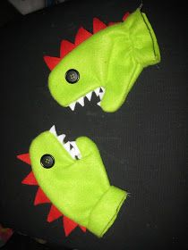 a mom, a wife, and a me: Sewed it on Sunday! Easy dino mittens