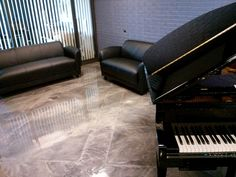 Marble epoxy showroom flooring with Piano - Lima Ohio