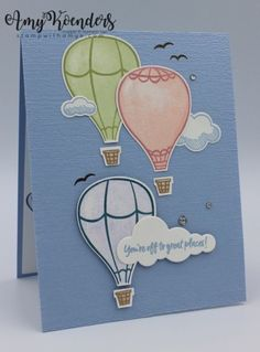 Stampin' Up! Above The Clouds Sneak Peek – Stamp With Amy K I used the Stampin' Up! Above The Clouds stamp set bundle from the upcoming Annual Catalog and the Lift Me Up stamp set and coordinating Up & Away Thinlits dies to create a quick card… Purple Balloons, Stampin Up Catalog, Above The Clouds, Handmade Birthday Cards, Handmade Cards, Some Cards, Stamping Up, Hot Air Balloon, Stampin Up Cards