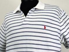 Mens Polo Ralph Lauren Large L White Navy Blue Stripe Short Sleeve Red Jocky