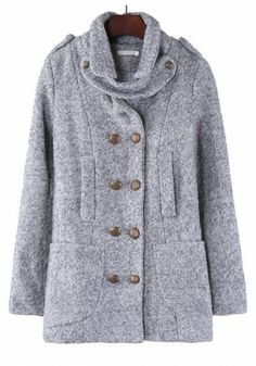 Grey Plain Turndown Collar Double Breasted Wool Coat
