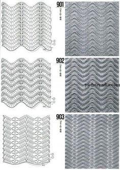DODA CROCHET: Tantissimi punti uncinetto con schema - Crochet stitch with patterns Crochet Stitches Chart, Crochet Motifs, Crochet Diagram, Knitting Stitches, Knitting Patterns, Crochet Patterns, Stitch Patterns, Chevron Crochet, Crochet Ripple