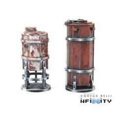 """Designed for Infinity: the Game and specifically for our USAriadna Comanche line of terrain. These Chemical Tanks come with a 40mm base and work perfectly with our Comanche Walkways. Tall Tank 3.5"""" x"""