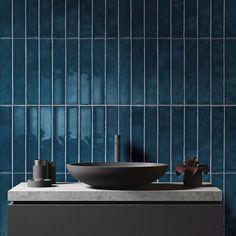 Amazing deep teal bathroom wall tiles with a dark charcoal grey sink…fab… – 2019 - Bathroom Diy Gray Bathroom Walls, Dark Bathrooms, Mold In Bathroom, Bathroom Wall Decor, Bathroom Colors, Grey Walls, Charcoal Bathroom, Bathroom Ideas, Bathroom Fixtures