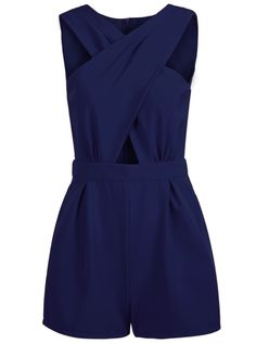 Blue Sleeveless Cross Hollow Jumpsuit - Sheinside.com