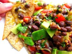 Healthy Nachos--Loaded! You make your own tortilla chips in this version.