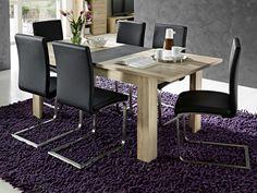 Rozkládací jídelní stůl, rozkládací funkce - 1 prodlužovací deska 40 cm, možné prodloužení ze 160 cm na 200 cm. Provedení: deska stolu - odolný melamin/MDF dub San Remo světlý, prodlužovací deska - břidlice MDF, podnoží - dub San Remo světlý imitace. San Remo Eiche, Dining Table, Modern, Furniture, Medium, Home Decor, Kitchen Dining Rooms, Essen, Trendy Tree