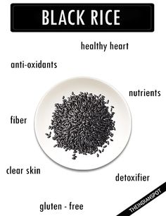 Haven't heard of black rice? It's not surprising really, it's pretty rare compared to its brown and white relatives. Despite being less popular than brown rice or wild rice, black rice, known as forb Health And Fitness Tips, Health Tips, Health And Wellness, Black Rice Benefits, Wild Growth Hair Oil, Hair Growth, Cancer Fighting Foods, Ketosis Diet, Health Facts