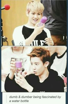 Chanyeol and Baekhyun being fascinated by a water bottle