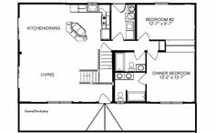 Small Rustic Cabin Floor Plans Small Rustic Cabins, house plans for 1000 sq ft Cabin Floor Plans Small, Cabin House Plans, Small House Plans, House Floor Plans, Cottage House Plans, Cottage Homes, Cottage Style, Plane 2, 1000 Sq Ft
